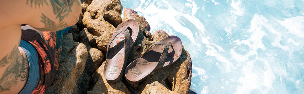 reef, mens, sandals, bay, premium, leather, waterproof, beach, arch, support, comfort. style