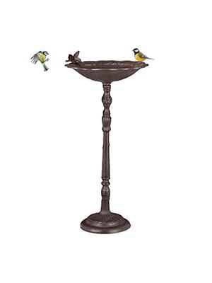 Relaxdays, Marrón, Bebedero Pájaros Grande de Pie, Hierro Fundido, 74, 5 cm de Alto: Amazon.es: Jardín