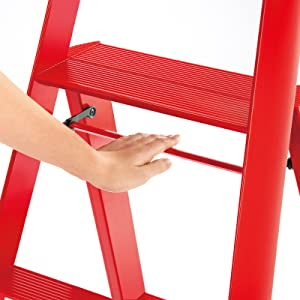 Hasegawa lucano step ladders stool safety bar safe stable sturdy red cute pop interior holiday gift