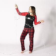 Female wearing JumpOff Jo matching family pajama set