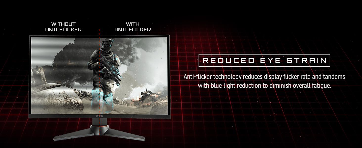 reduced eye strain. anti-flicker technology reduces display flicker rate. blue light reduction