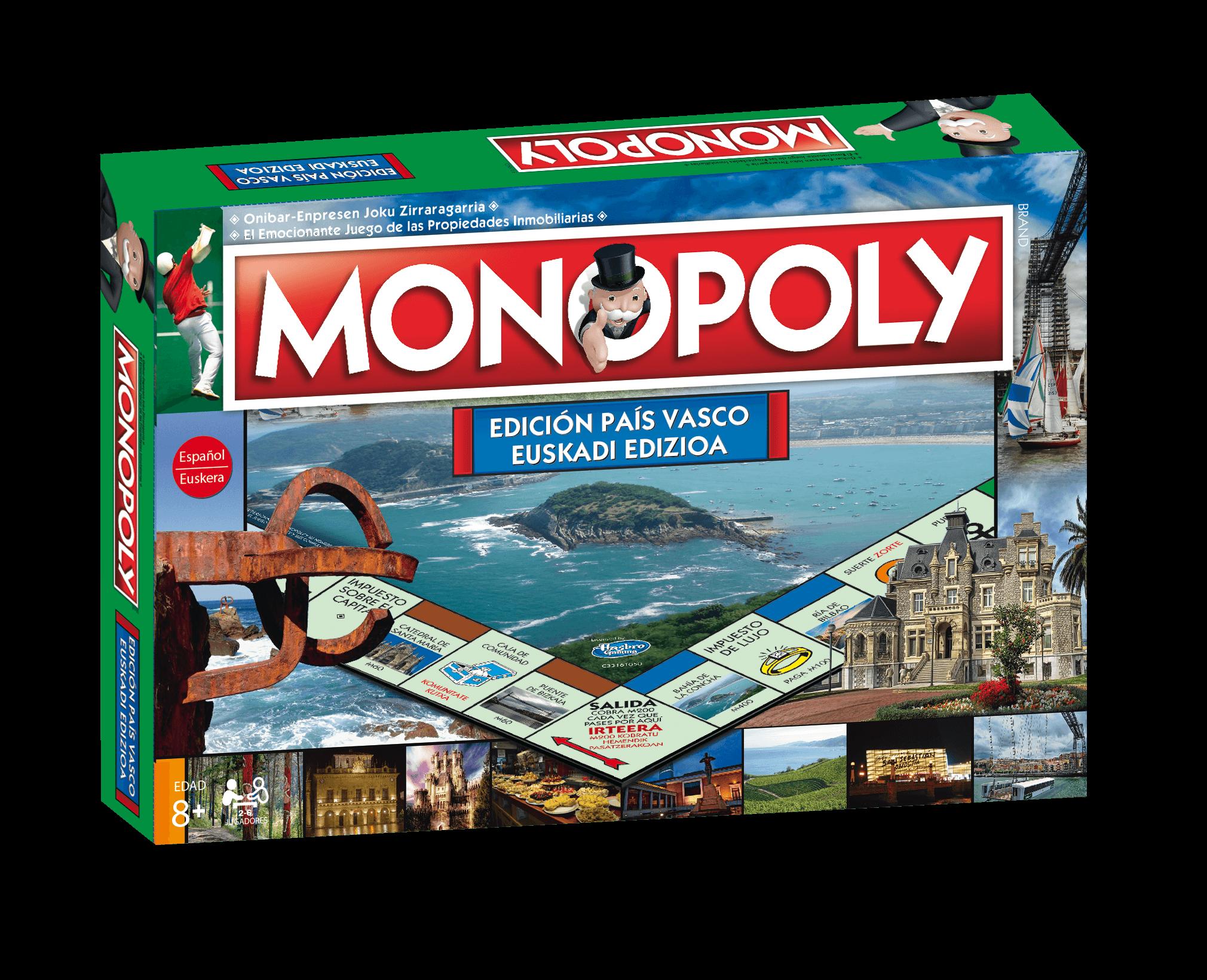 Monopoly País Vasco / Euskadi . Juego de Mesa - Versión bilingüe en Castellano y Euskera.