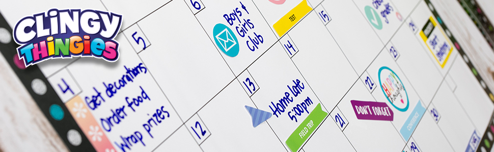 Chalkboard Brights clingy thingies calendar set