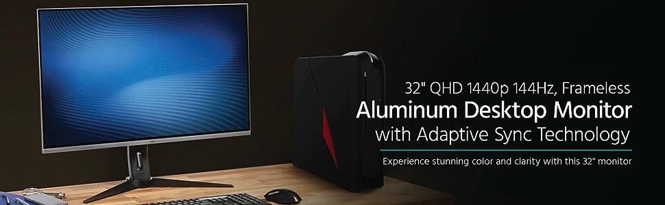 "Monoprice 32"" QHD 1440p 144Hz VA Frameless Aluminum Desktop Monitor with Height Adjustable Stand"