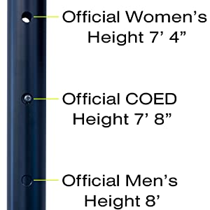 official volleyball height, men's, women's, coed, volleyball