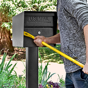 Residential theft proof USPS approved large security locking curbside post mount mailbox with key