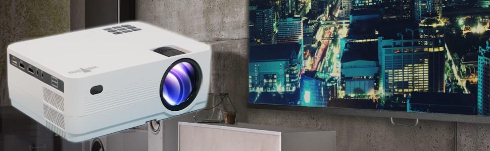 Proyector Full HD 1080P, Unicview HD320 (2019 Nuevo), Proyector 3.500 lúmenes Youtube USB Multimedia Mirroring Portátil LED Cine en casa 1920x1080 ...