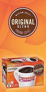 Dunkin Donuts Original Keurig K-Cup Pods full bodied medium roast ground 100% Arabica coffee beans