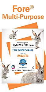 Hammermill Fore Multi-Purpose 20 lb letter size print and copy paper, 500 sheets, Made in the USA.
