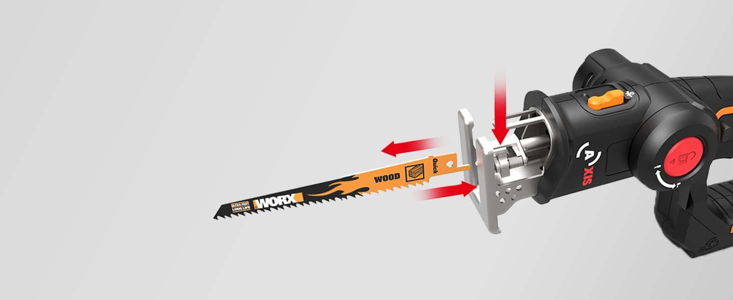 It's easy and safe to change out blades. And this saw is compatible with both jig and reciprocating