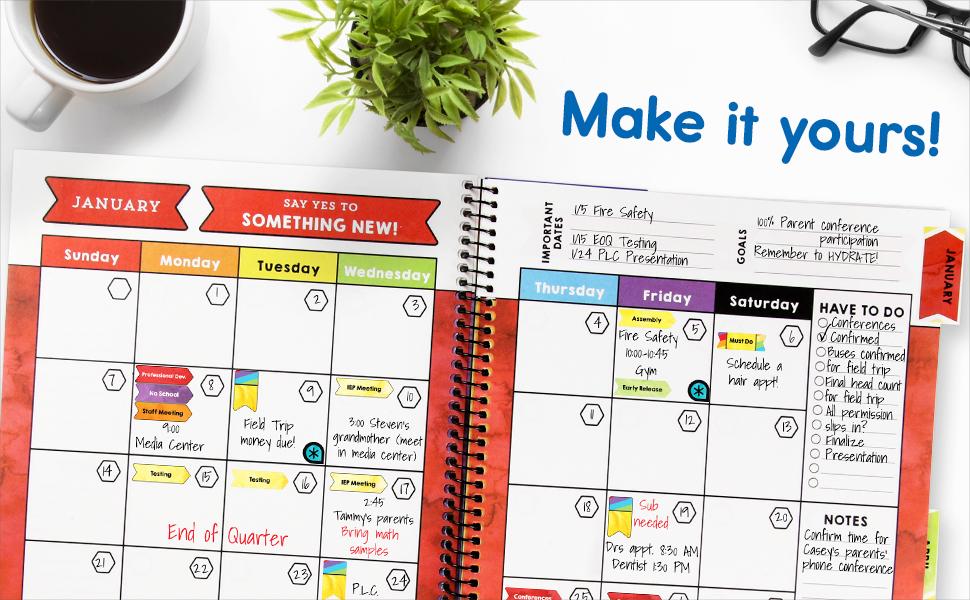 open spread of teacher planner