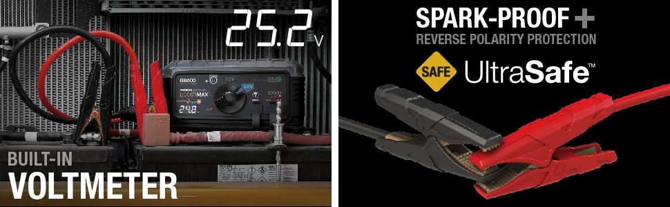 noco, ultrasafe, safe jump starter, spark proof, reverse polarity, protected, voltmeter, tester