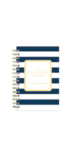 day designer for blue sky, navy stripe collection, 2019 planner, 8x10, flexible cover, daily