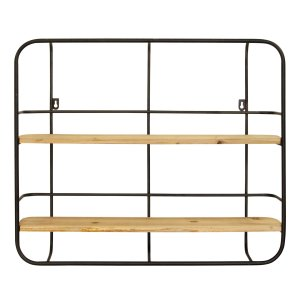 Amazon Com Stratton Home Decor Stratton Home Decor Metal Wall Shelf 24 00w X 4 25d X 20 00h Black Natural Wood Home Kitchen