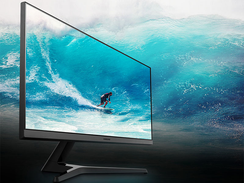 """Angled shot of Samsung 24"""" FHD Monitor with Bezel-LESS Design to feature the wide screen"""