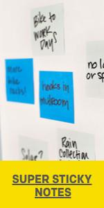 Post-it Super Sticky Notes stuck to a white board with tasks written on them.