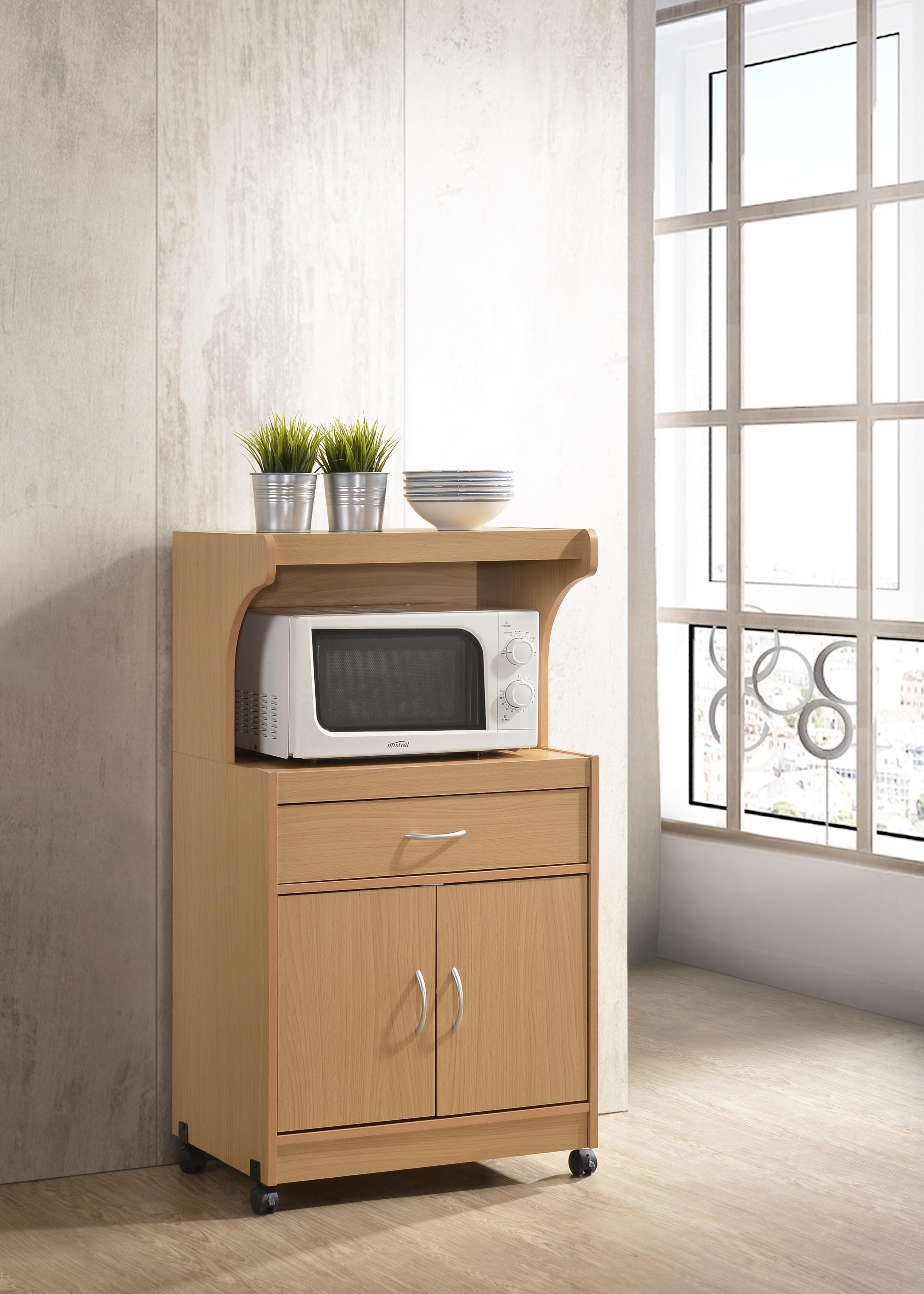 Hodedah Hik72 Cherry Microwave Cart With One Drawer Two