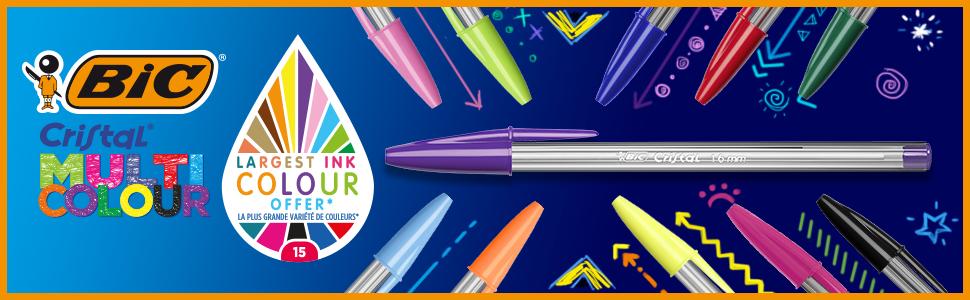 BIC Cristal Multicolour - Pack de 15 unidades, bolígrafos de punta ...