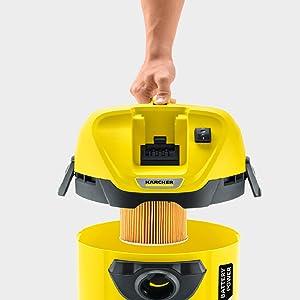 Kärcher WD 3 - Aspirador Multiuso, sin Batería y con Control de Encendido, 17 litros, Plástico, Negro/Amarillo, Model Nuevo: Amazon.es: Hogar