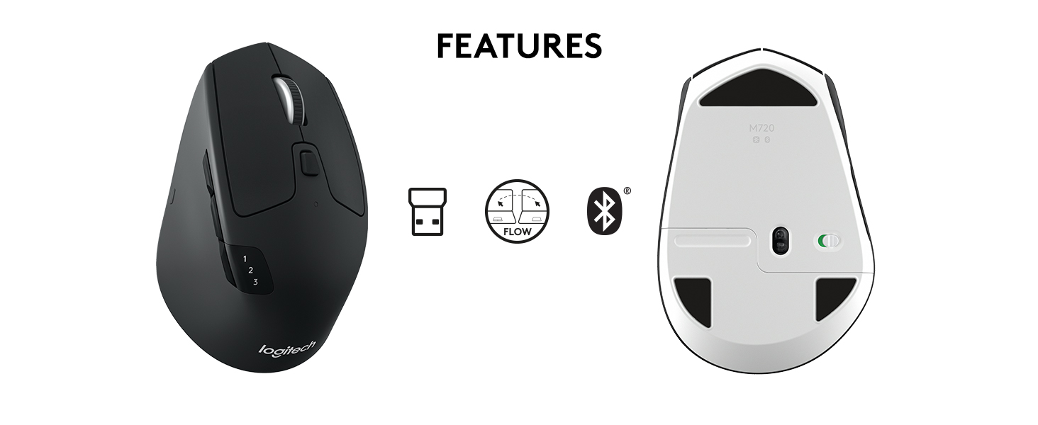 Logitech M720 Triathalon Multi-Device Wireless Mouse – Easily Move Text,  Images and Files Between 3 Windows and Apple Mac Computers Paired with