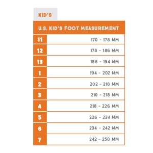 Northside Kids US foot measurement in millimeter for Kids US shoe sizes