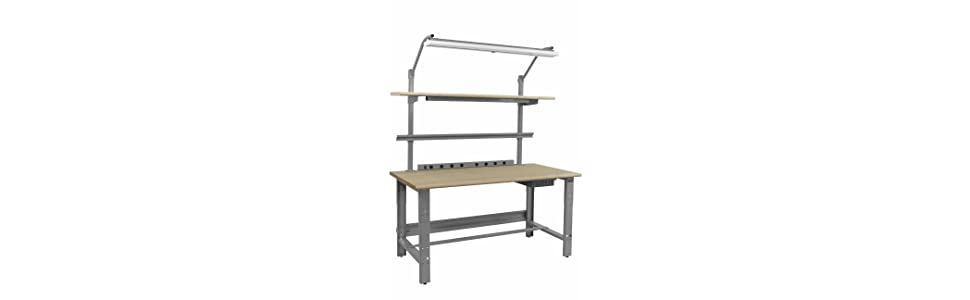 30-36 Adjustable Height BenchPro Roosevelt Workbench 1,200 lbs Capacity 24 Depth x 72 Length Heavy Duty Steel With Formica White Laminate Top