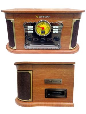 Sunstech PXRC52CDWD - Giradiscos de Madera, Color Madera