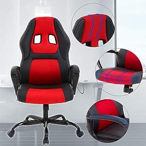 T-LoVendo Silla Gaming Oficina Racing Escritorio Videojuegos Sillon Gamer Despacho, Negra, Universal