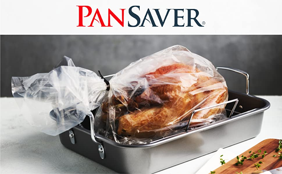 Pansaver logo above turkey in a Pansaver roasting bag, lying in a pan.