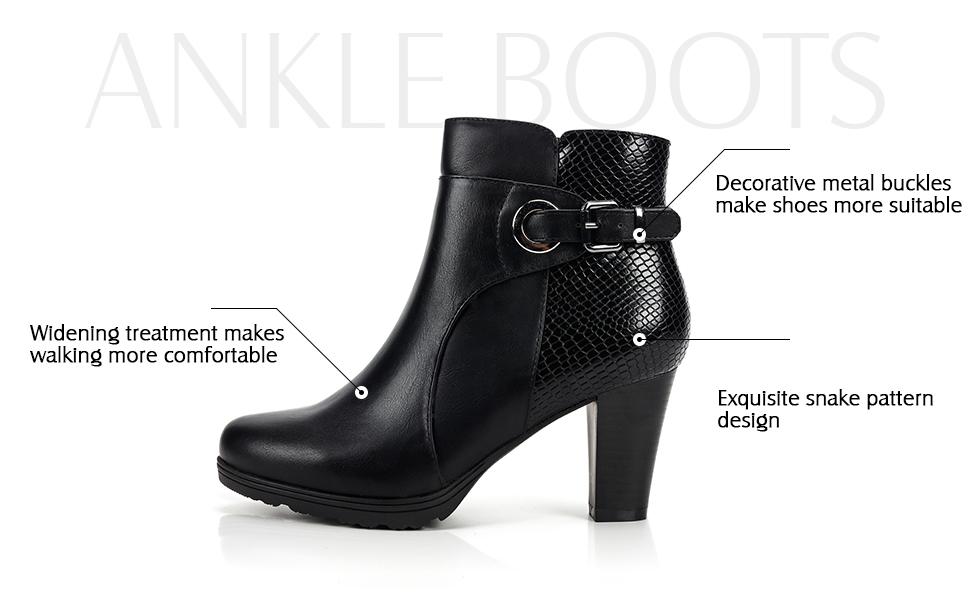 Chelsea Boots Women Ankle Boots Metal Decor Block Heels Buckle Zipper Chic Shoes