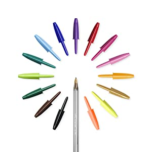 BIC Cristal Multicolour - Pack de 15 unidades, bolígrafos de punta ancha (1,6 mm), colores surtidos: Amazon.es: Oficina y papelería