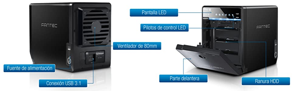FANTEC QB-35U31 Carcasa para 4 discos duros de 3.5″ HDD con USB 3.1: Amazon.es: Informática