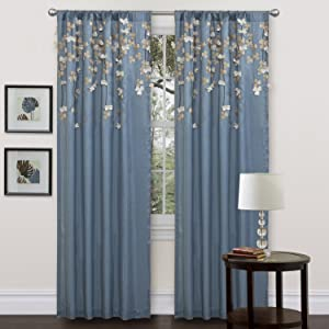 Amazon Com Lush Decor Flower Drop Curtain Panel Purple