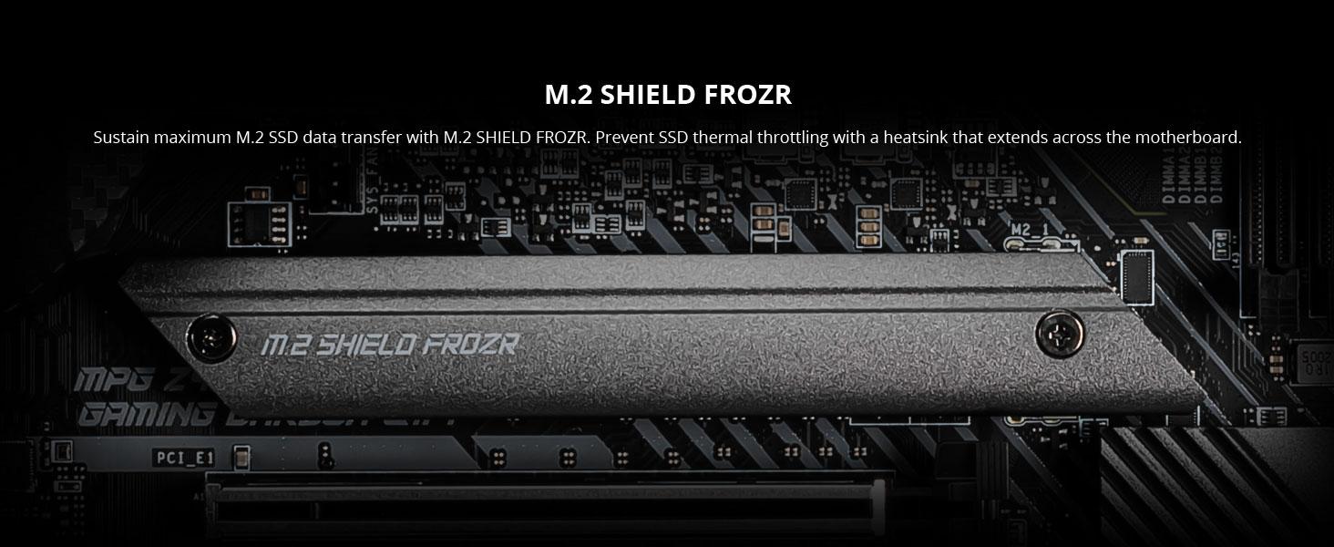 msi, mpg z490 gaming carbon wifi, m.2 shield frozr, nvme ssd, heatsink, turbo m.2