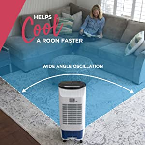 wide angle cooling, evaporative air cooler