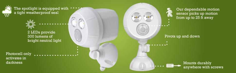 battery operated motion lights, security lights, outdoor motion light, battery powered spotlights