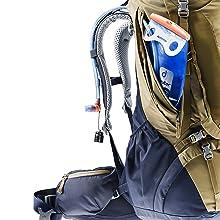 Seitentaschen; Balgtaschen; Vortasche; Fordertasche; Rucksack; Deuter
