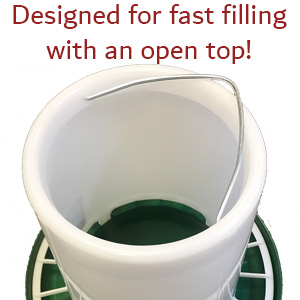 designed for fast filing with an open top