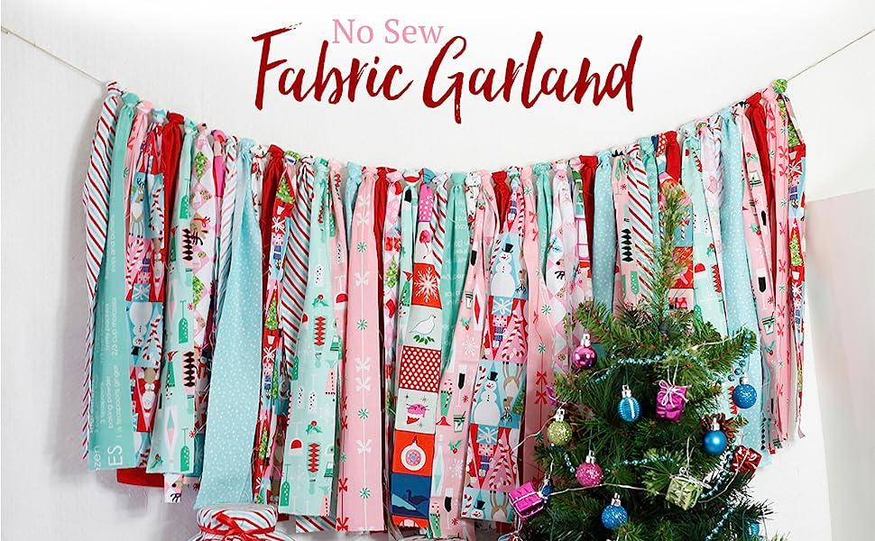 no sew, fabric, garland, holidays, christmas, project, festive, children, kids, decor, diy