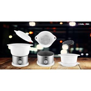 Team Kalorik Olla de vapor eléctrica de cerámica 4.5 litros, 700 W, Sin BPA, Blanco/Plateado, TKG DG 1002