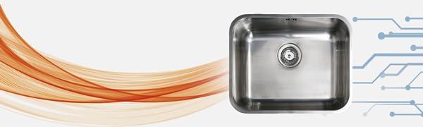 1 seno 400 x 360 mm Fregadero acero inoxidable  sobre encimera Cata 2612101 CS-1