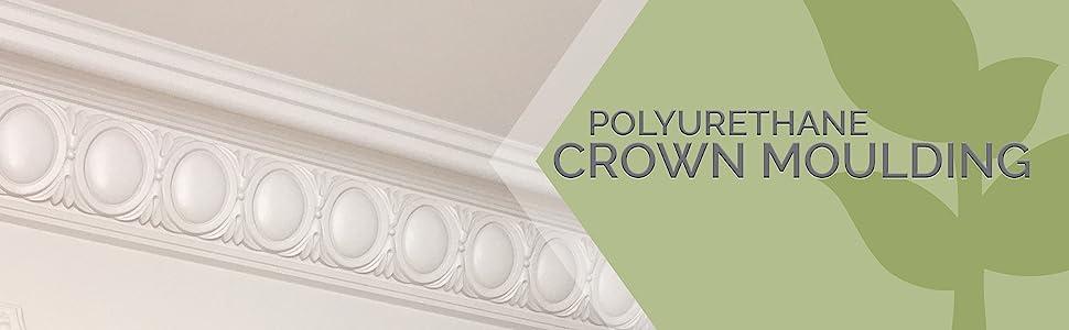 ornate circular pattern crown molding with description: Polyurethane Crown Molding