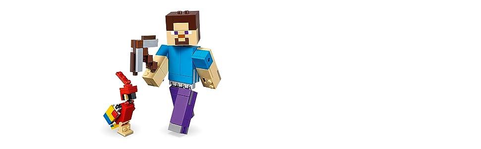 LEGO Minecraft - BigFig Minecraft: Steve con Loro, juguete