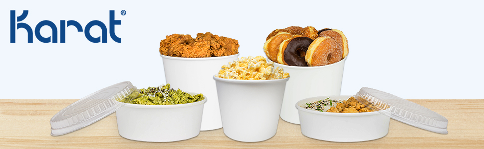 Karat paper food bucket,food bucket,to-go food packaging,take-out food container,lid for food bucket