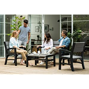 Keter Montero Wood Look 4-Seater Outdoor Garden Furniture