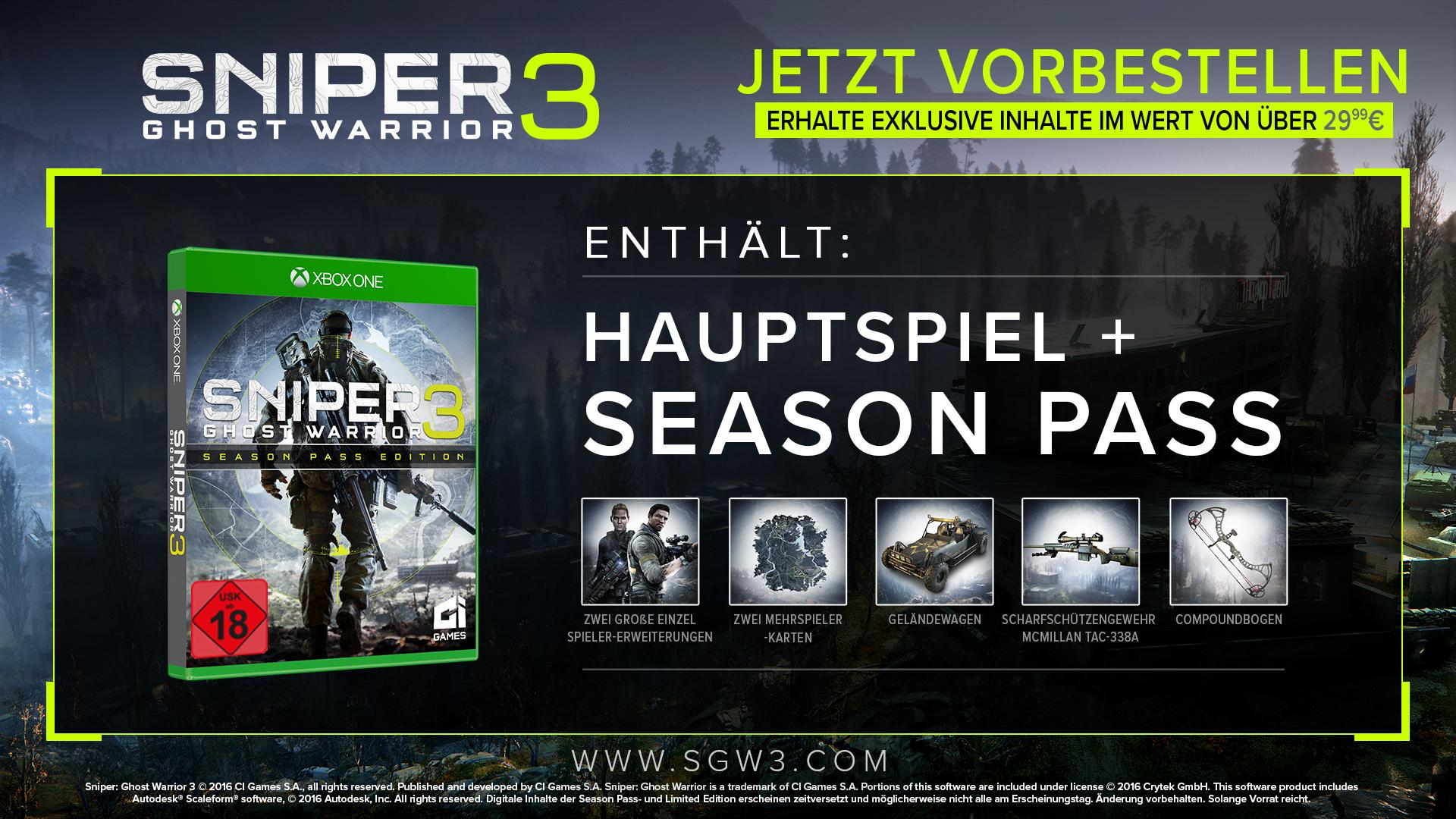 sniper ghost warrior 3 season pass edition xbox one. Black Bedroom Furniture Sets. Home Design Ideas