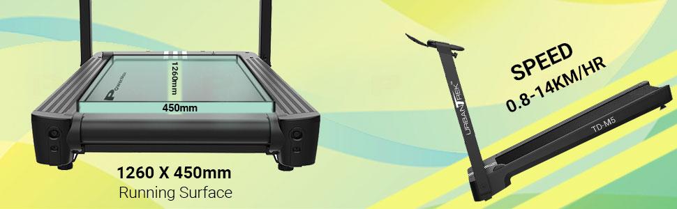 PowerMax Fitness UrbanTrek TD-M5 Installation Free Treadmill with large running surface