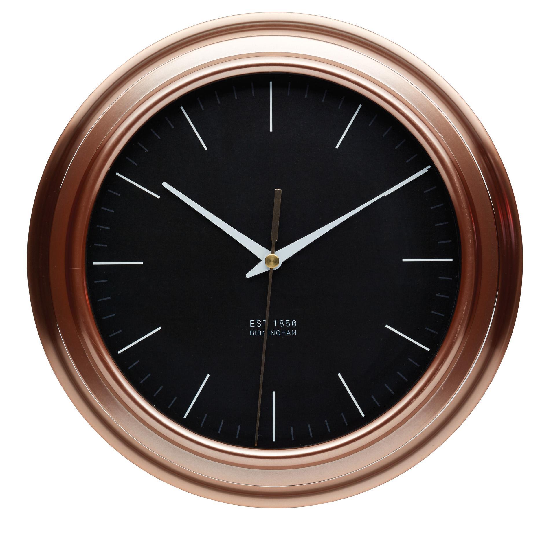 kitchencraft round copper effect kitchen wall clock 25 5. Black Bedroom Furniture Sets. Home Design Ideas
