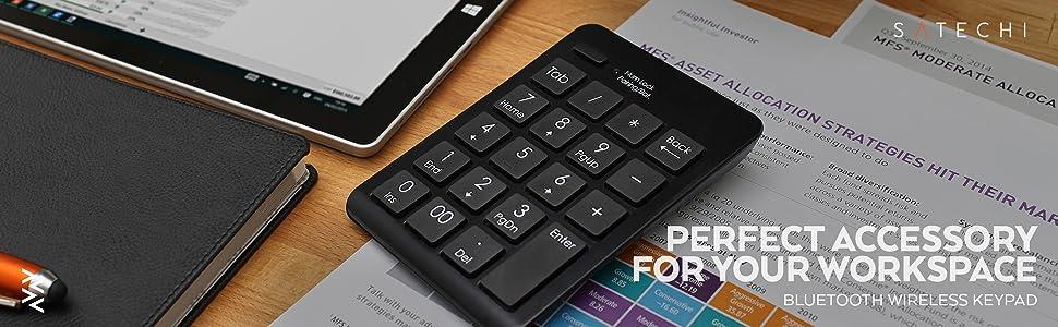 Satechi ST-WKPB Black 20 Keys Wireless Numeric Keypad compatible with  iMac/Macbook/iPad/Laptop/Notebook/Microsoft Surface/Desktop/PC Computer