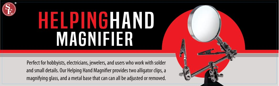 Helping Hand Magnifier Two Alligator Clips Metal Base Hobbyists Electricians Jewelers
